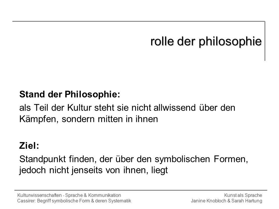 rolle der philosophie Stand der Philosophie: