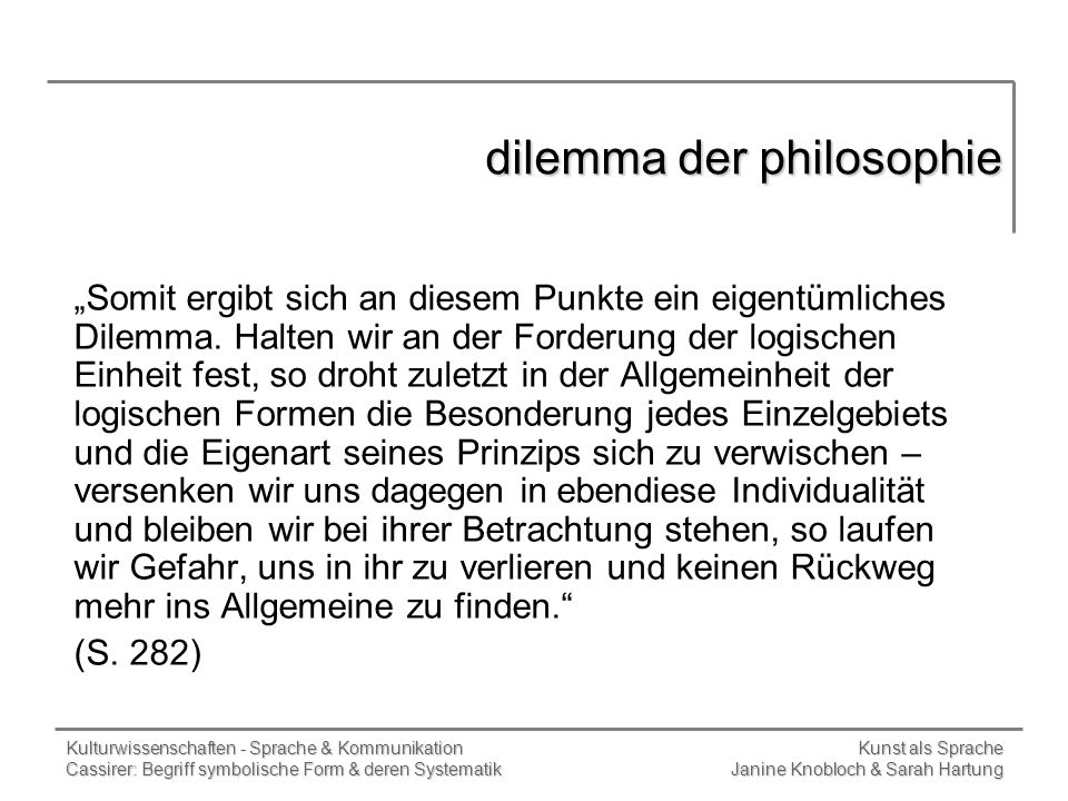 dilemma der philosophie