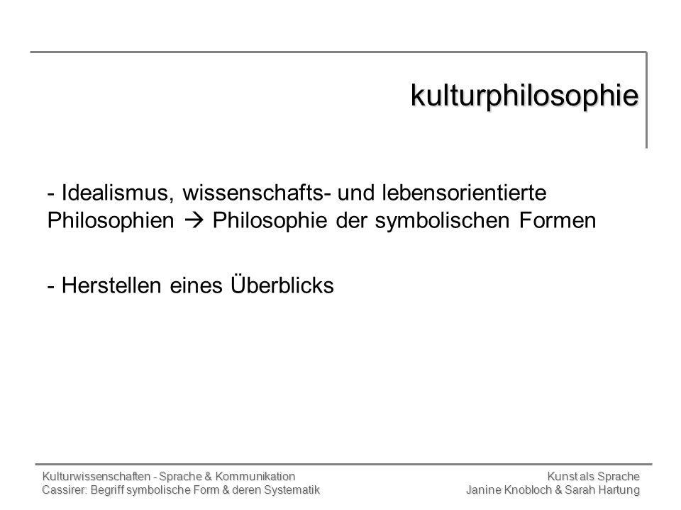 kulturphilosophie Idealismus, wissenschafts- und lebensorientierte Philosophien  Philosophie der symbolischen Formen.