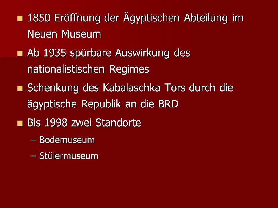 1850 Eröffnung der Ägyptischen Abteilung im Neuen Museum