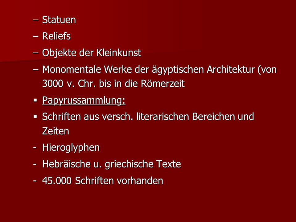 Statuen Reliefs. Objekte der Kleinkunst. Monomentale Werke der ägyptischen Architektur (von 3000 v. Chr. bis in die Römerzeit.