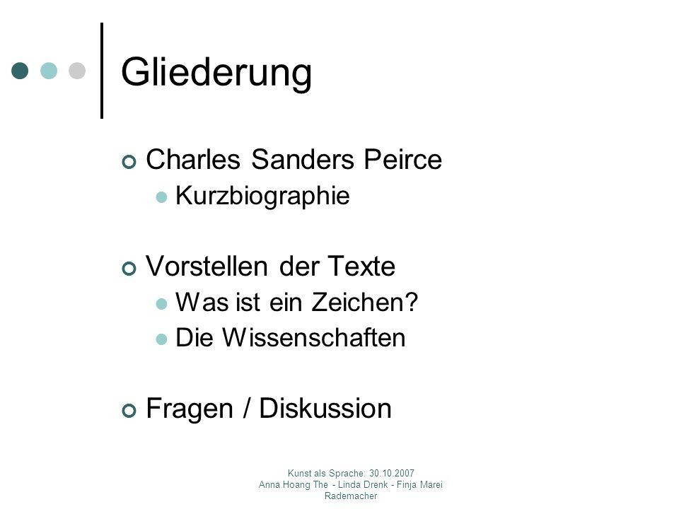 Gliederung Charles Sanders Peirce Vorstellen der Texte