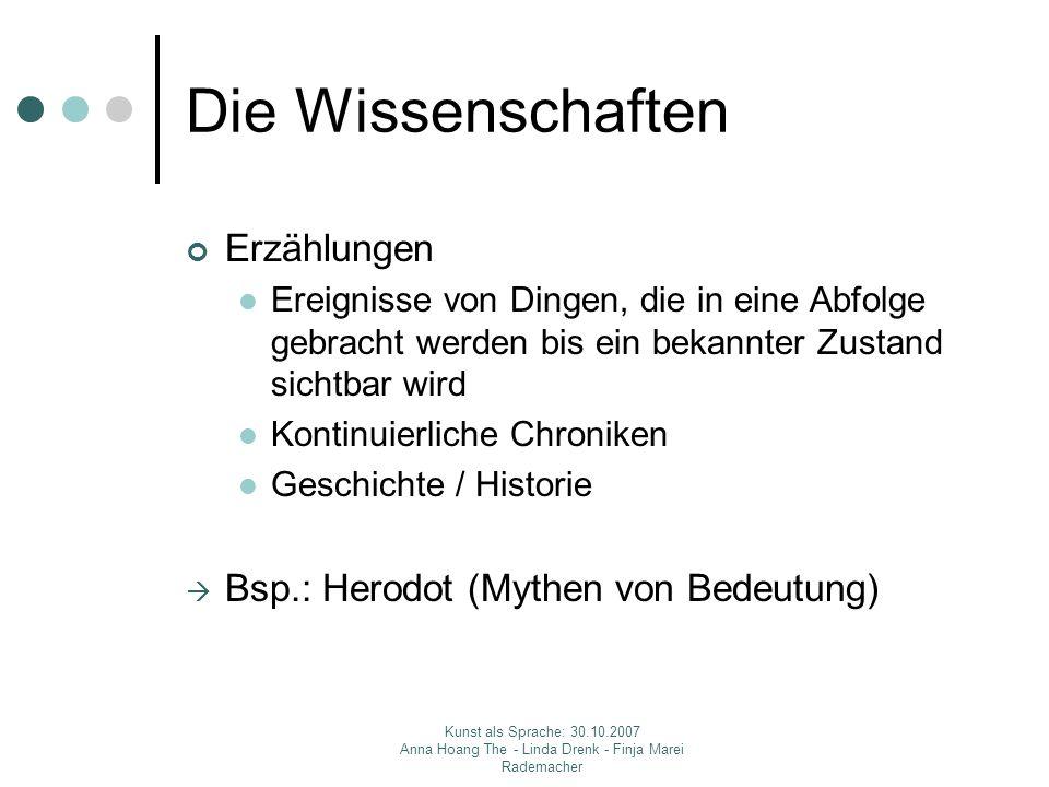 Die Wissenschaften Erzählungen Bsp.: Herodot (Mythen von Bedeutung)