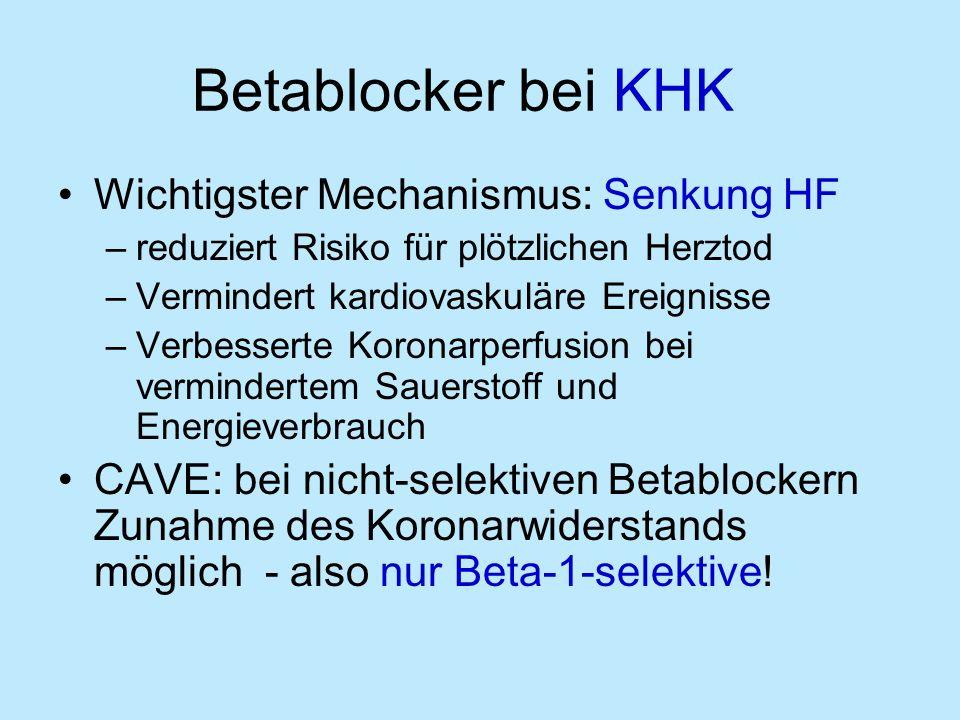 Betablocker bei KHK Wichtigster Mechanismus: Senkung HF