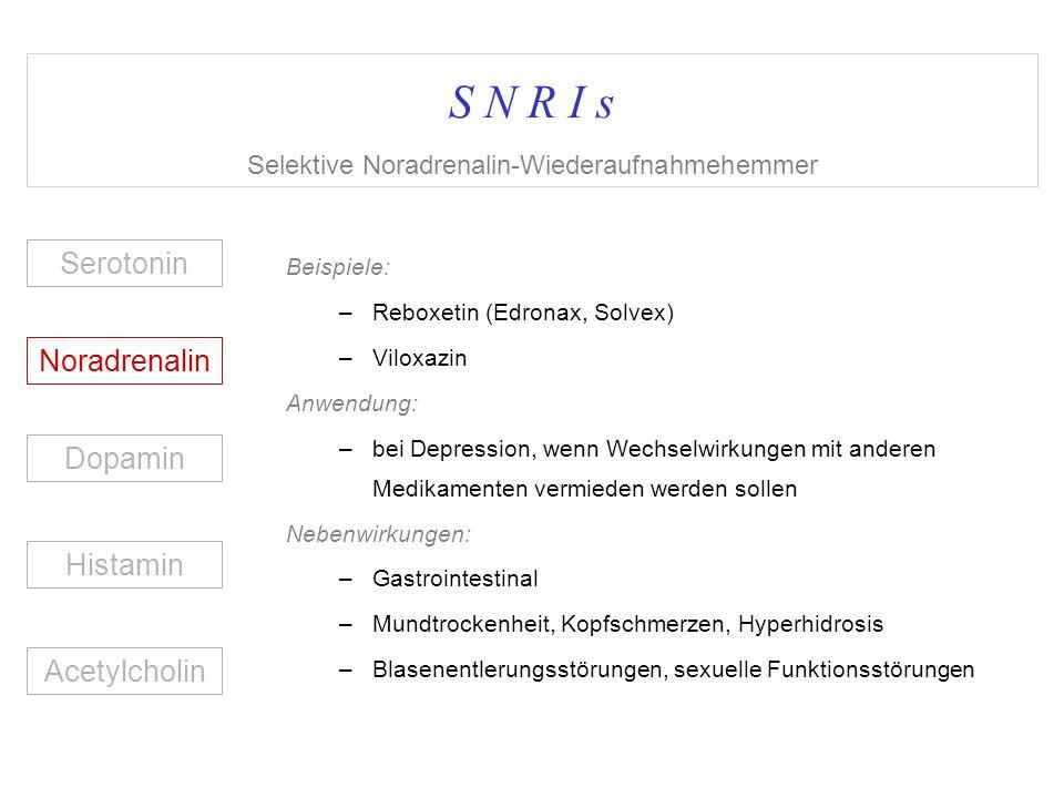 S N R I s Selektive Noradrenalin-Wiederaufnahmehemmer
