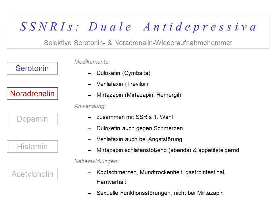 S S N R I s : D u a l e A n t i d e p r e s s i v a Selektive Serotonin- & Noradrenalin-Wiederaufnahmehemmer