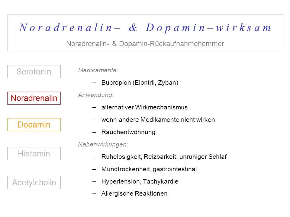 N o r a d r e n a l i n – & D o p a m i n – w i r k s a m Noradrenalin- & Dopamin-Rückaufnahmehemmer