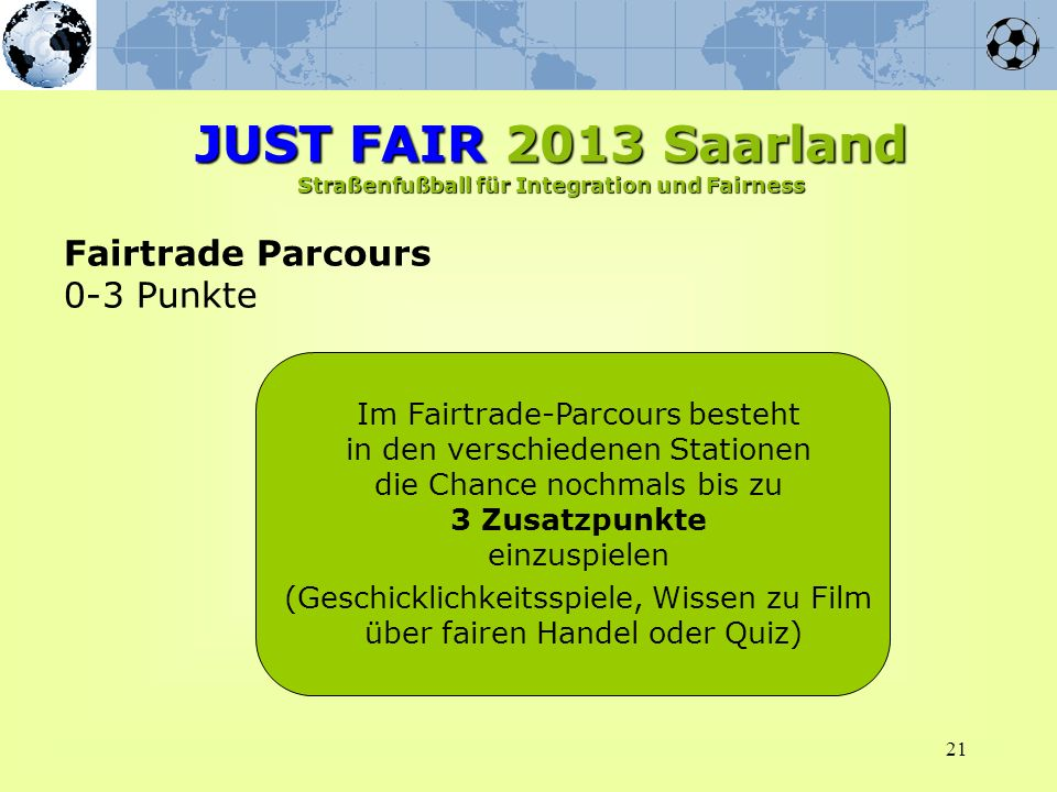 JUST FAIR 2013 Saarland Straßenfußball für Integration und Fairness