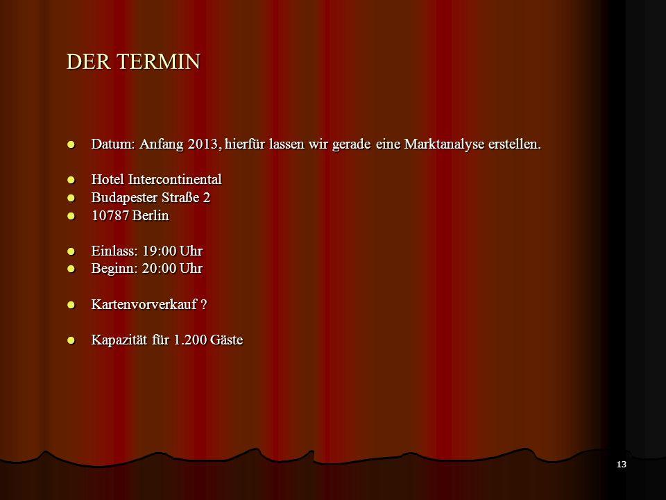 DER TERMIN Datum: Anfang 2013, hierfür lassen wir gerade eine Marktanalyse erstellen. Hotel Intercontinental.
