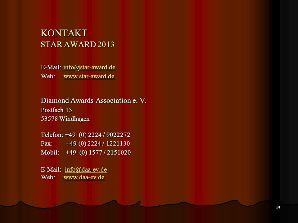 KONTAKT STAR AWARD 2013 Diamond Awards Association e. V.