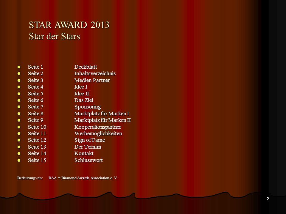 STAR AWARD 2013 Star der Stars Seite 1 Deckblatt