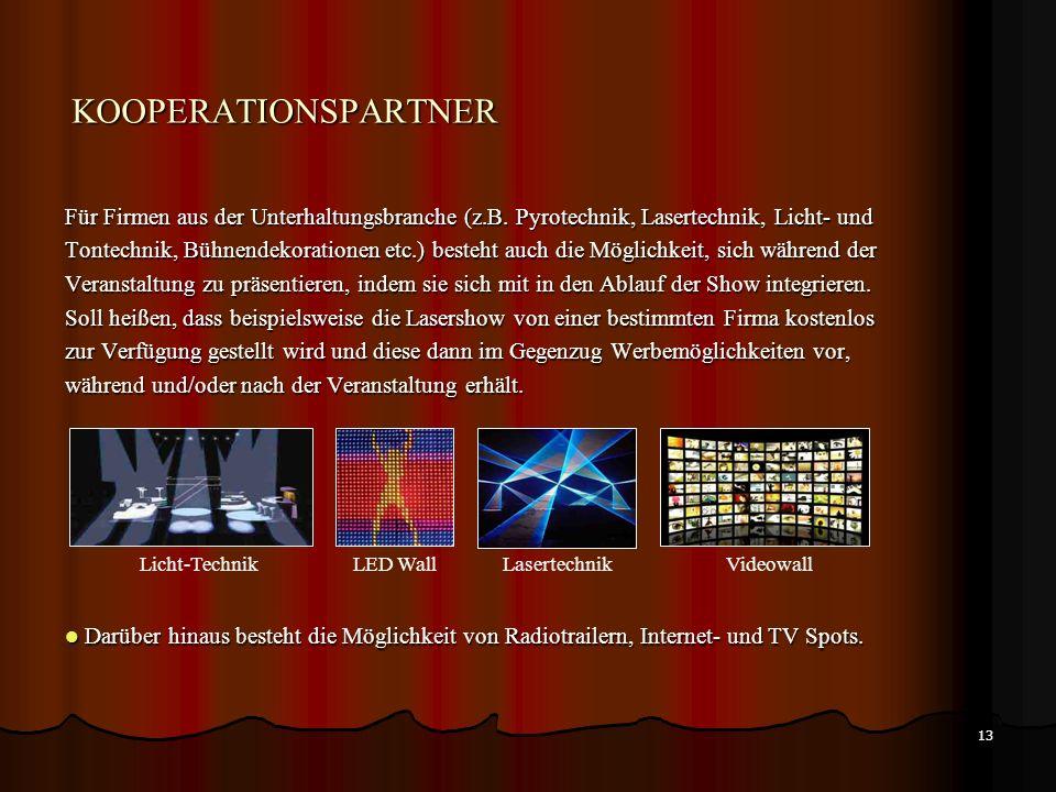 KOOPERATIONSPARTNER Für Firmen aus der Unterhaltungsbranche (z.B. Pyrotechnik, Lasertechnik, Licht- und.