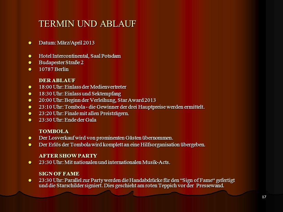 TERMIN UND ABLAUF Datum: März/April 2013
