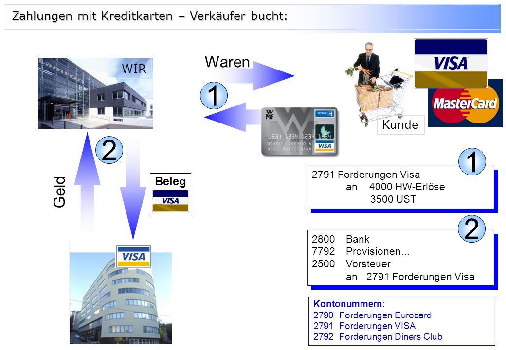 1 2 1 2 Waren Geld Zahlungen mit Kreditkarten – Verkäufer bucht: WIR