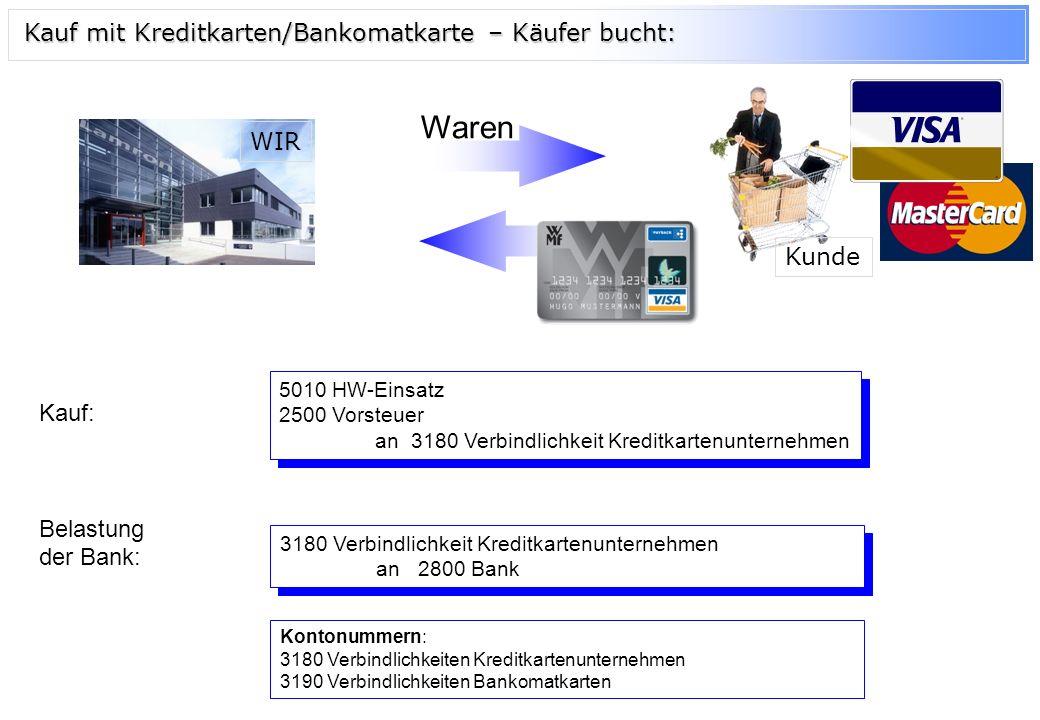 Waren Kauf mit Kreditkarten/Bankomatkarte – Käufer bucht: WIR Kunde