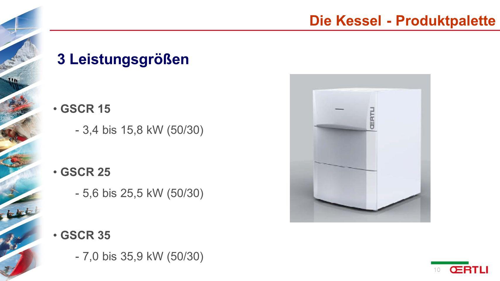 3 Leistungsgrößen Die Kessel - Produktpalette GSCR 15