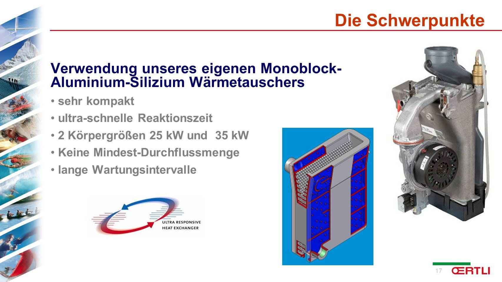Die Schwerpunkte Verwendung unseres eigenen Monoblock- Aluminium-Silizium Wärmetauschers. sehr kompakt.