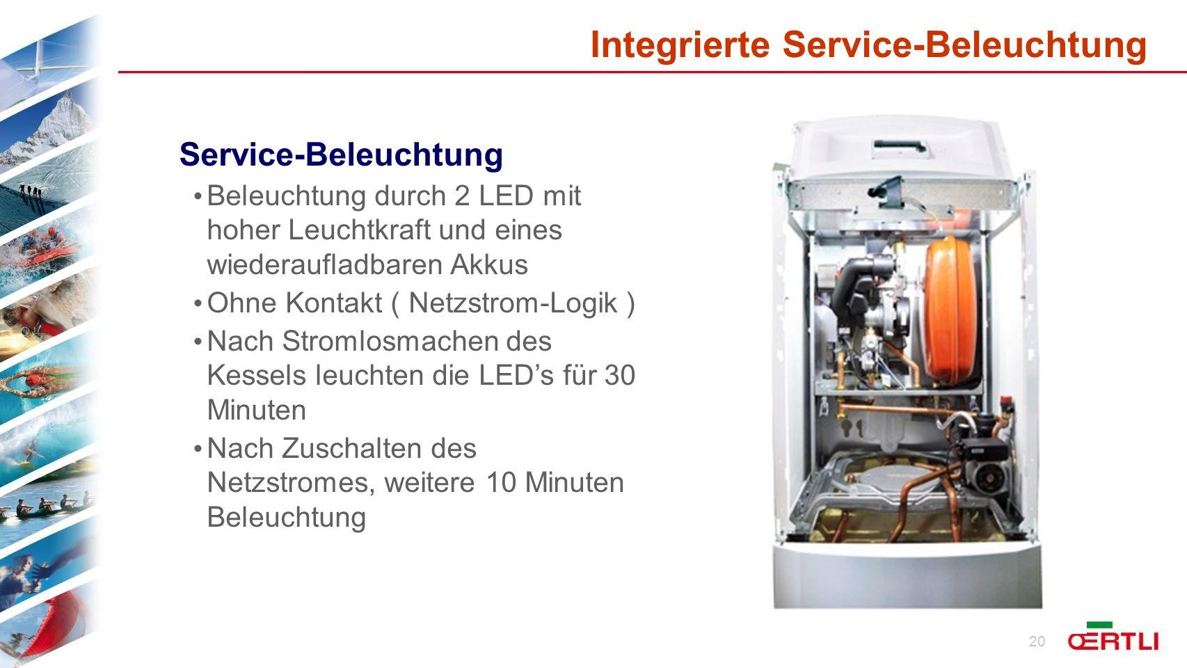 Integrierte Service-Beleuchtung