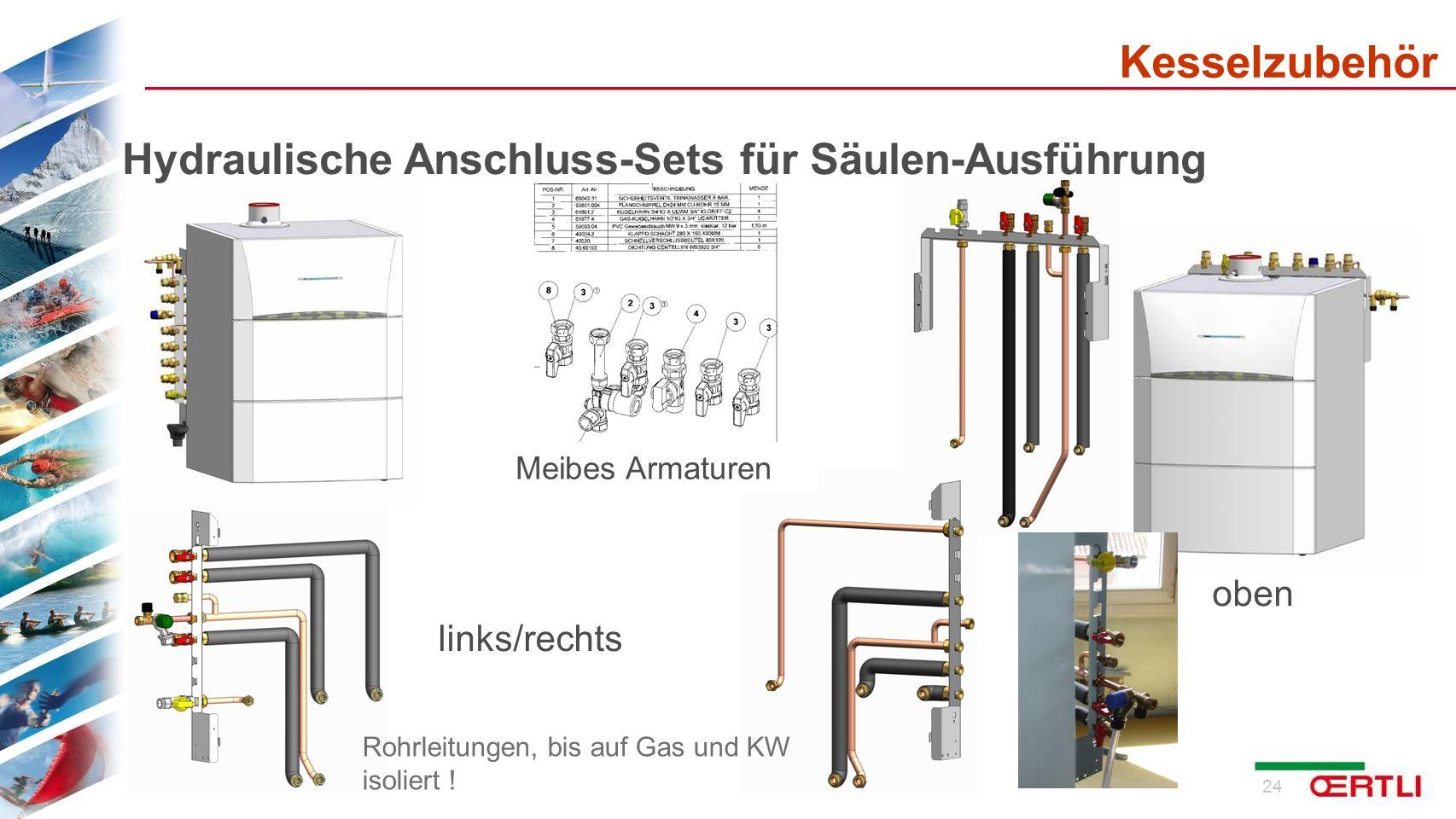 Kesselzubehör Hydraulische Anschluss-Sets für Säulen-Ausführung oben