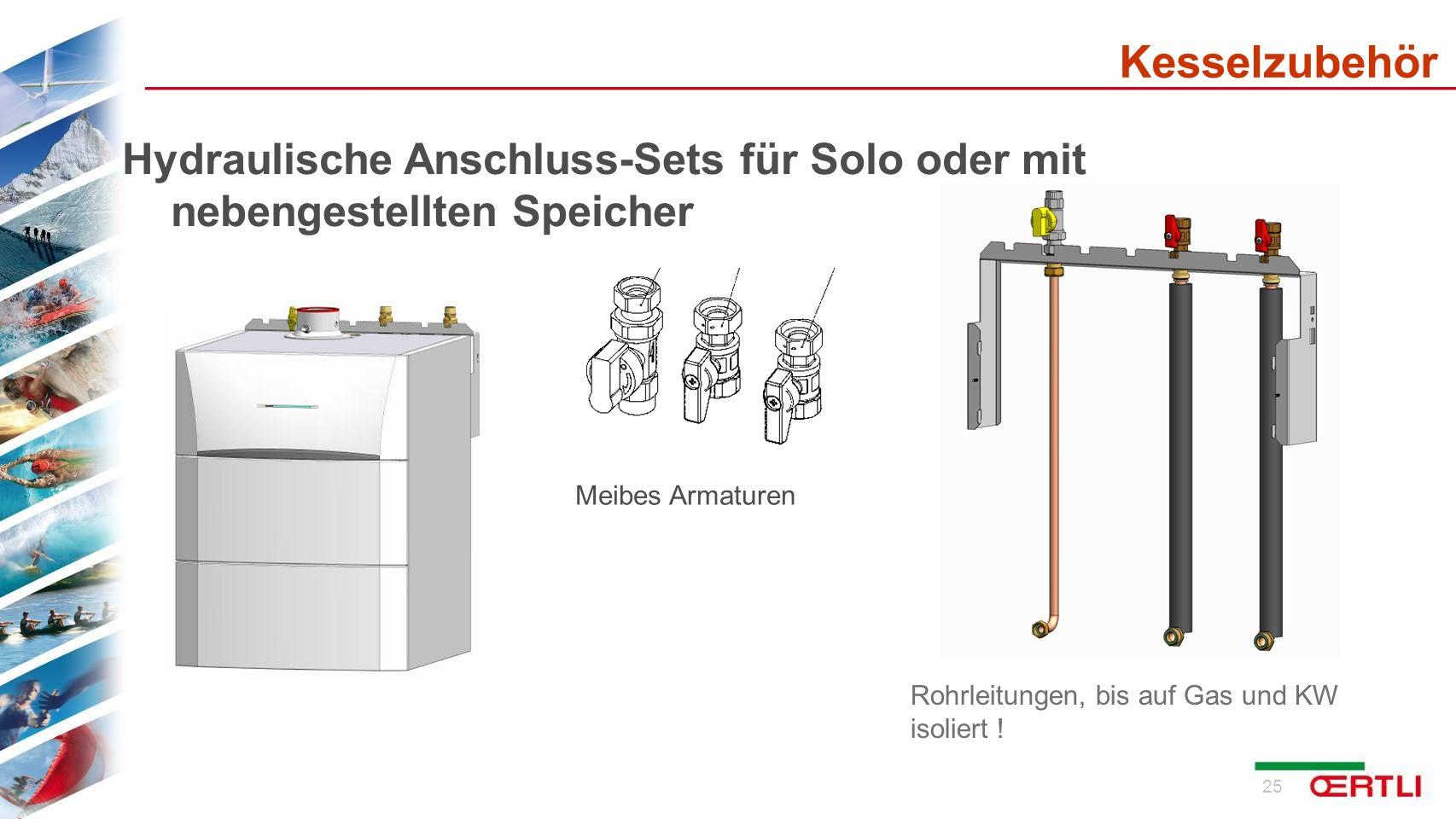 KesselzubehörHydraulische Anschluss-Sets für Solo oder mit nebengestellten Speicher. Meibes Armaturen.