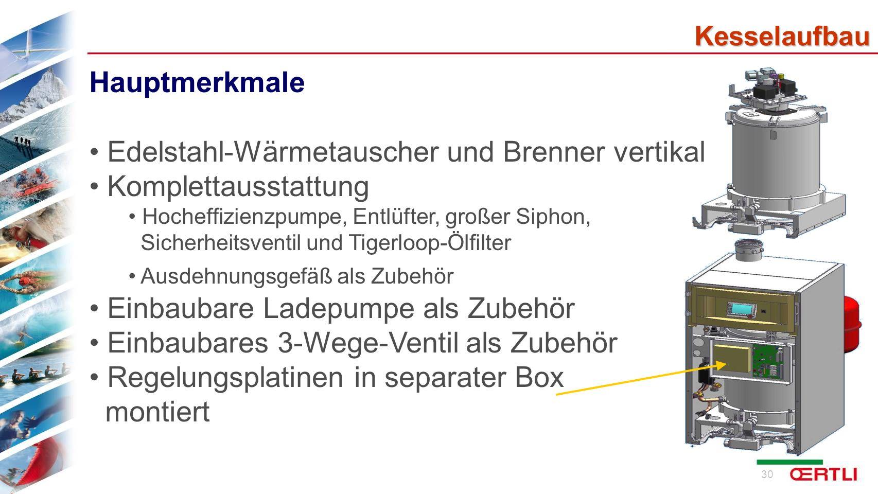 Edelstahl-Wärmetauscher und Brenner vertikal Komplettausstattung