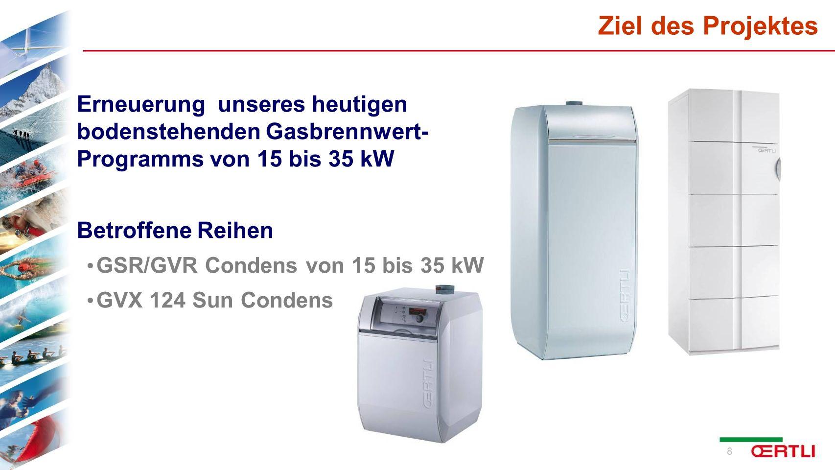 Ziel des Projektes Erneuerung unseres heutigen bodenstehenden Gasbrennwert- Programms von 15 bis 35 kW.