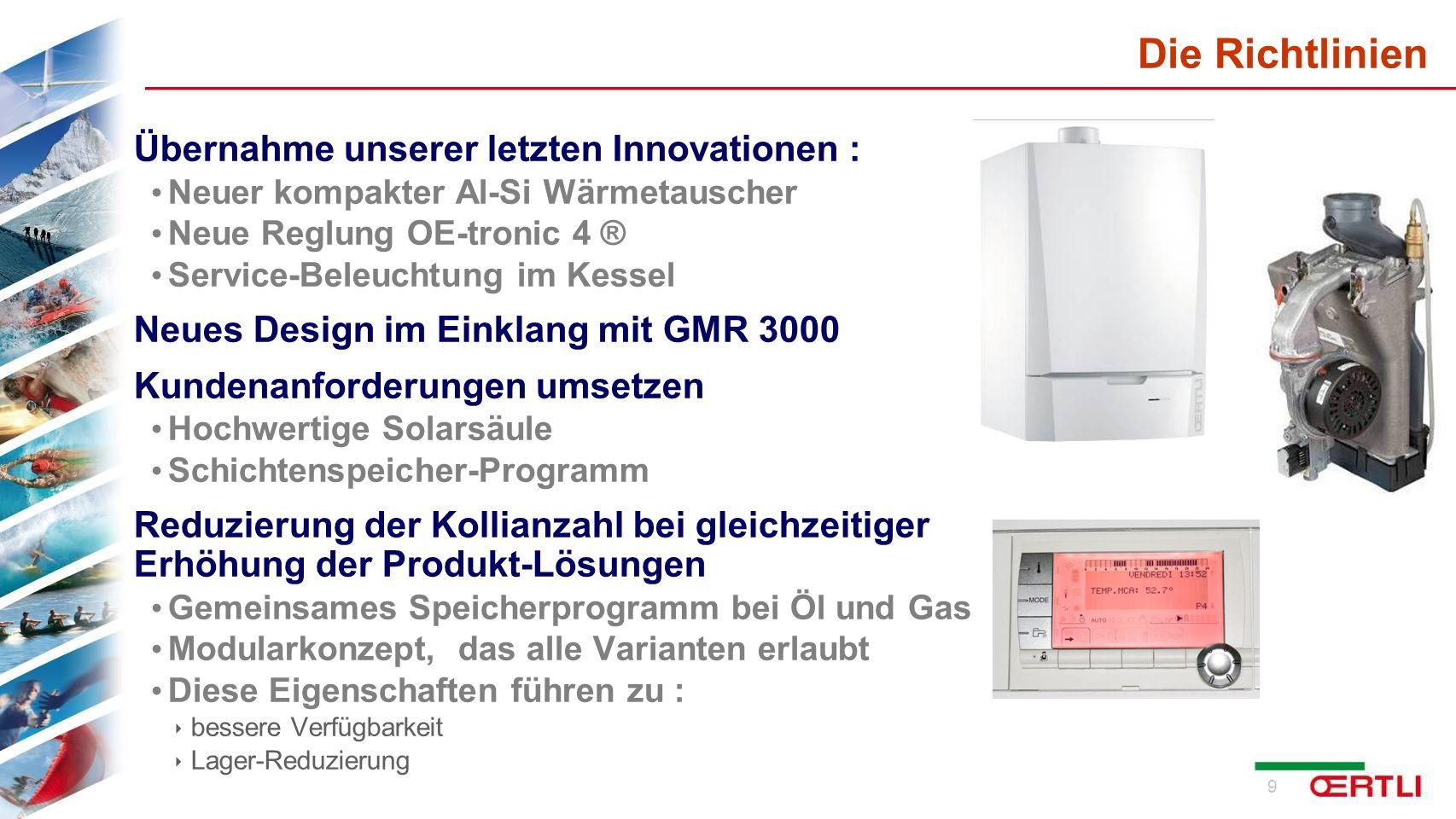 Die Richtlinien Übernahme unserer letzten Innovationen :