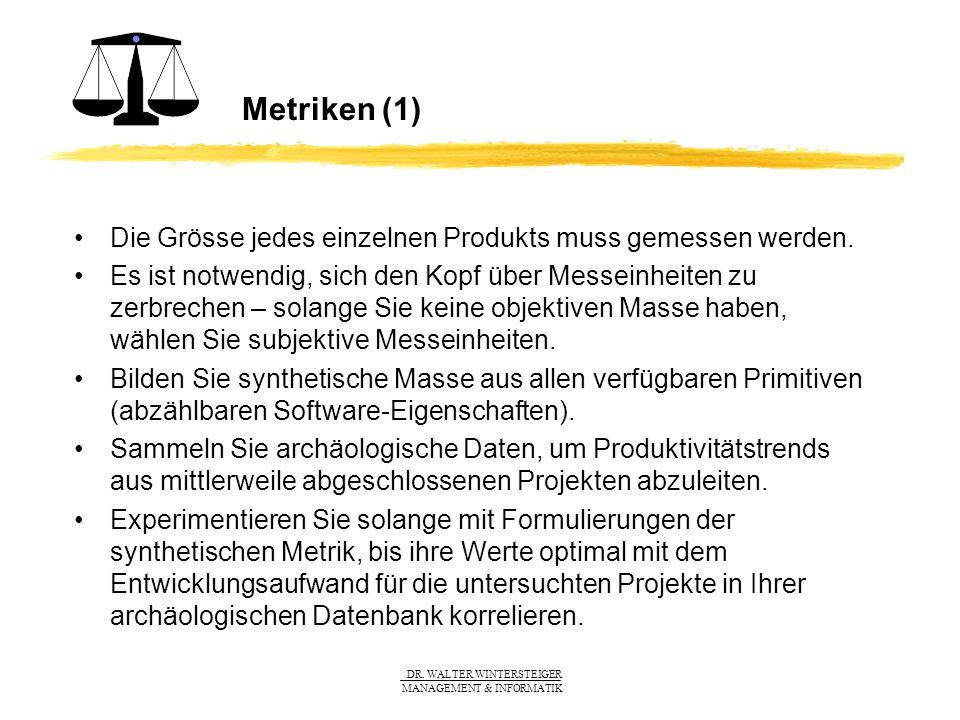 Metriken (1) Die Grösse jedes einzelnen Produkts muss gemessen werden.