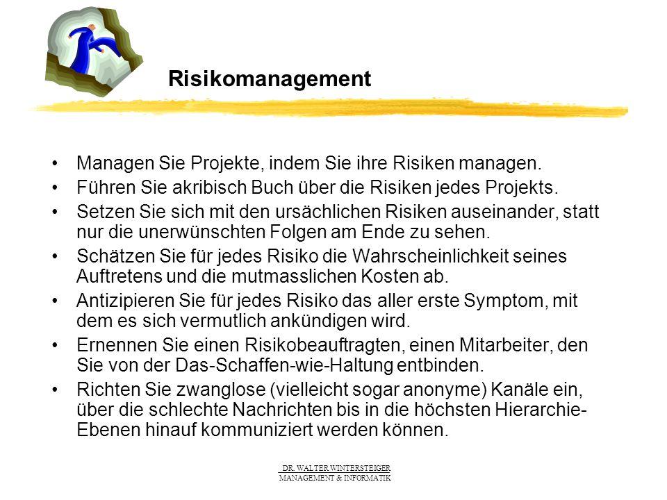 Risikomanagement Managen Sie Projekte, indem Sie ihre Risiken managen.