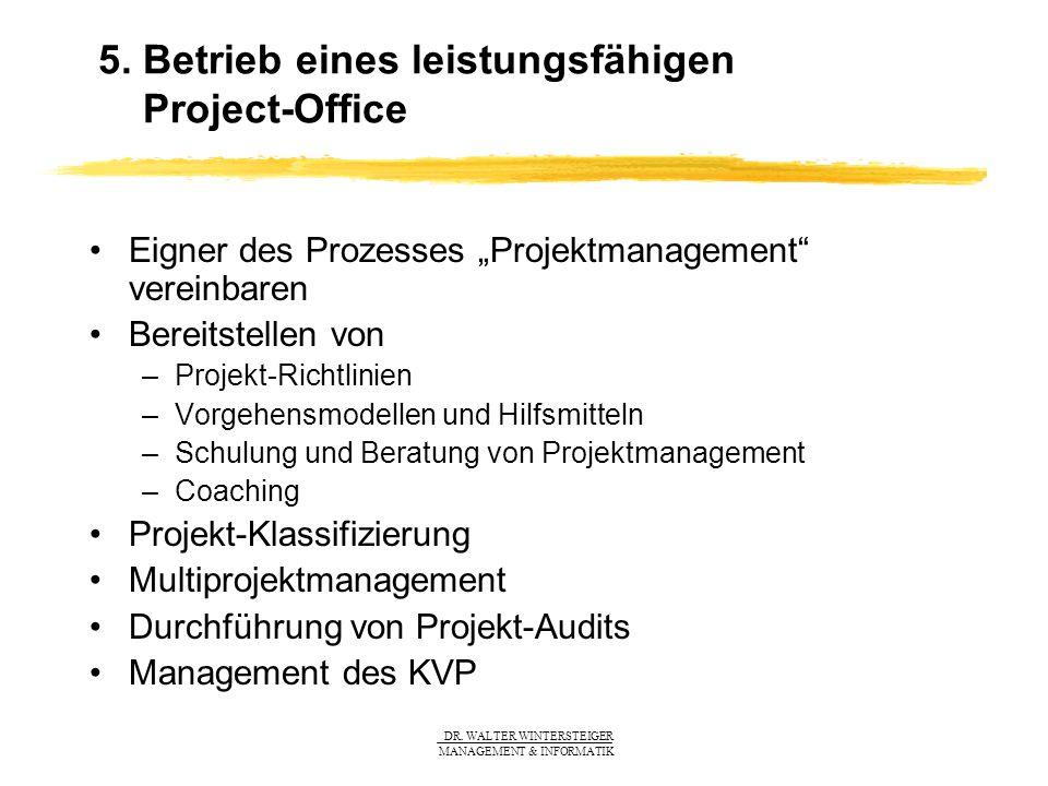 5. Betrieb eines leistungsfähigen Project-Office