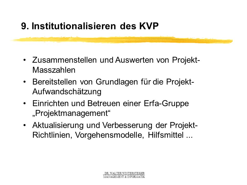 9. Institutionalisieren des KVP