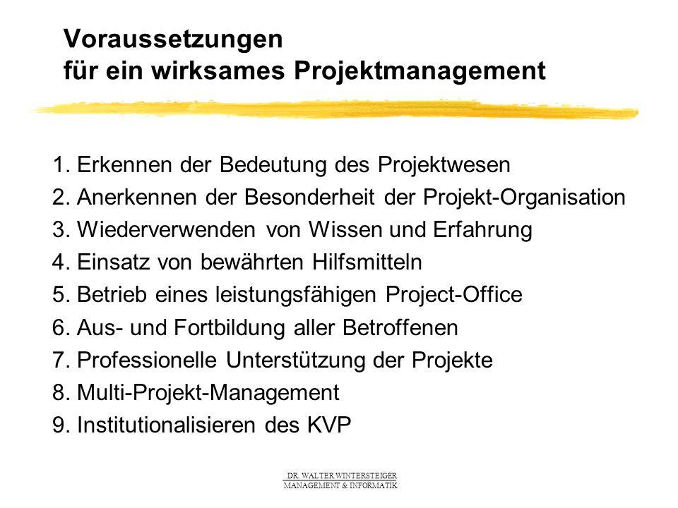 Voraussetzungen für ein wirksames Projektmanagement