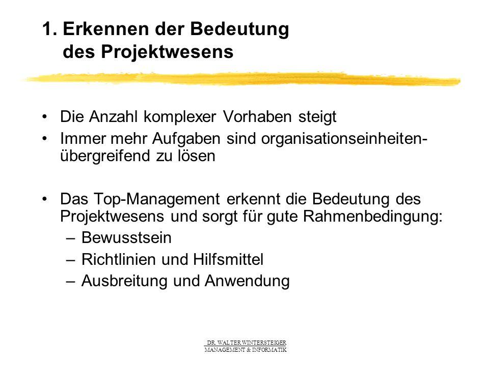 1. Erkennen der Bedeutung des Projektwesens