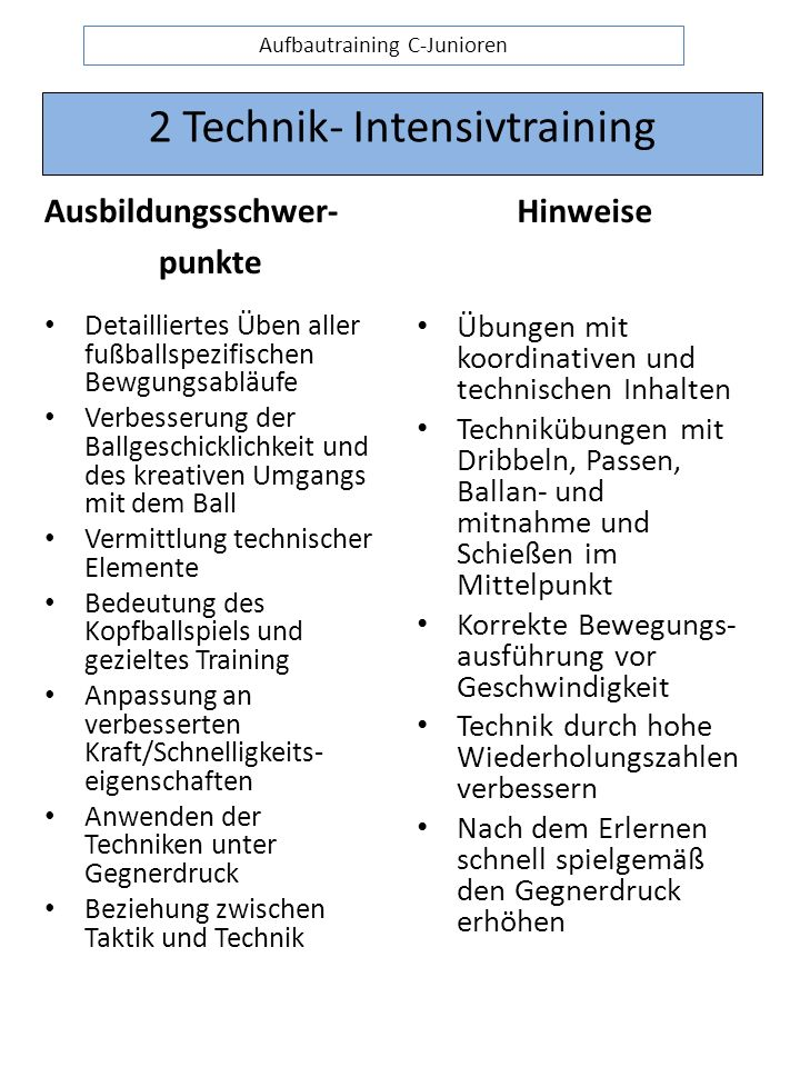 2 Technik- Intensivtraining
