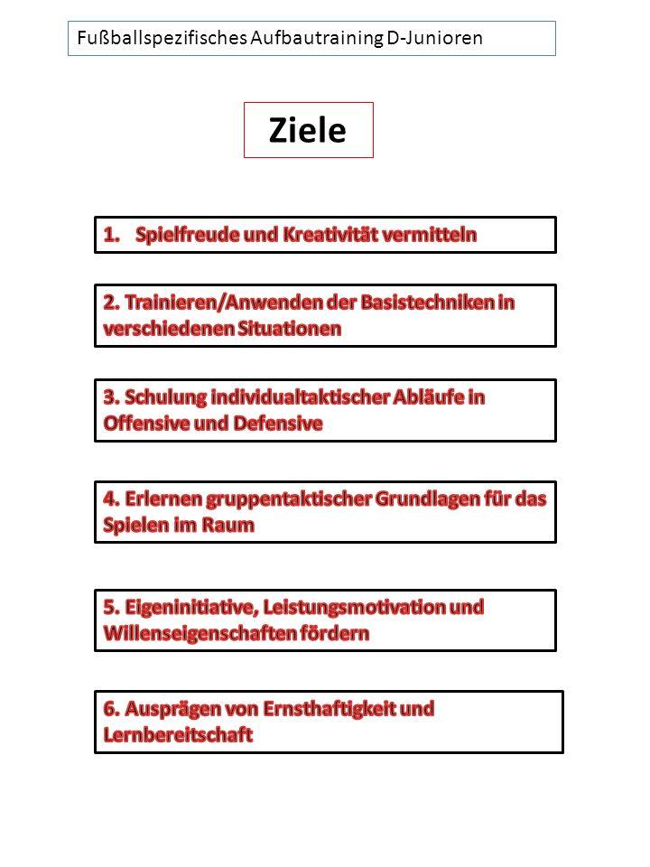 Ziele Fußballspezifisches Aufbautraining D-Junioren