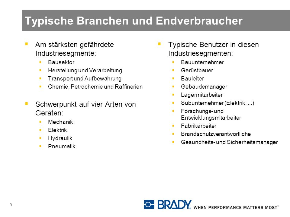 Typische Branchen und Endverbraucher