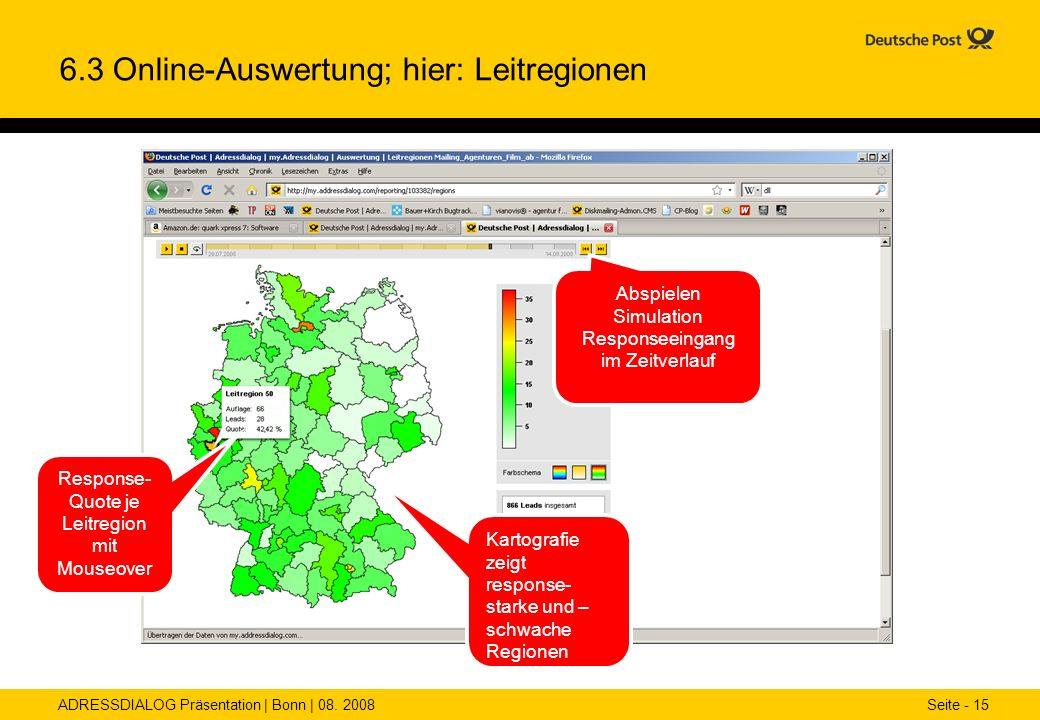6.3 Online-Auswertung; hier: Leitregionen