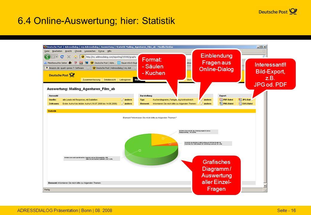 6.4 Online-Auswertung; hier: Statistik