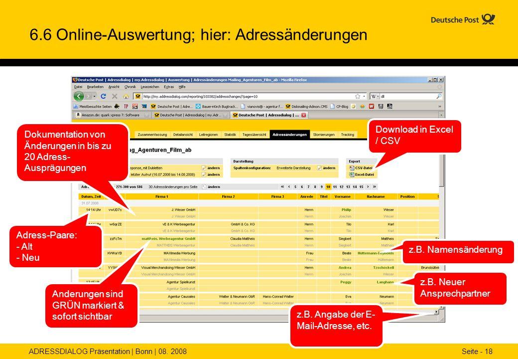 6.6 Online-Auswertung; hier: Adressänderungen