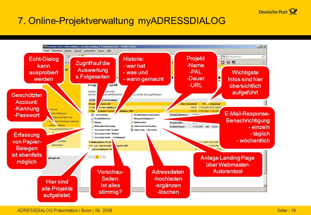 7. Online-Projektverwaltung myADRESSDIALOG