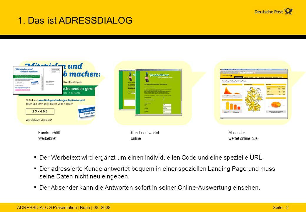 1. Das ist ADRESSDIALOGKunde erhält Werbebrief. Kunde antwortet online. Absender wertet online aus.