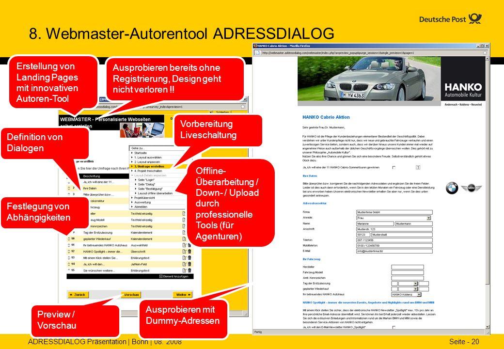 8. Webmaster-Autorentool ADRESSDIALOG