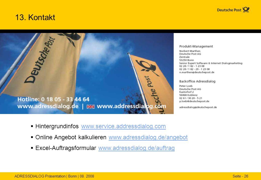 13. Kontakt Hintergrundinfos www.service.addressdialog.com