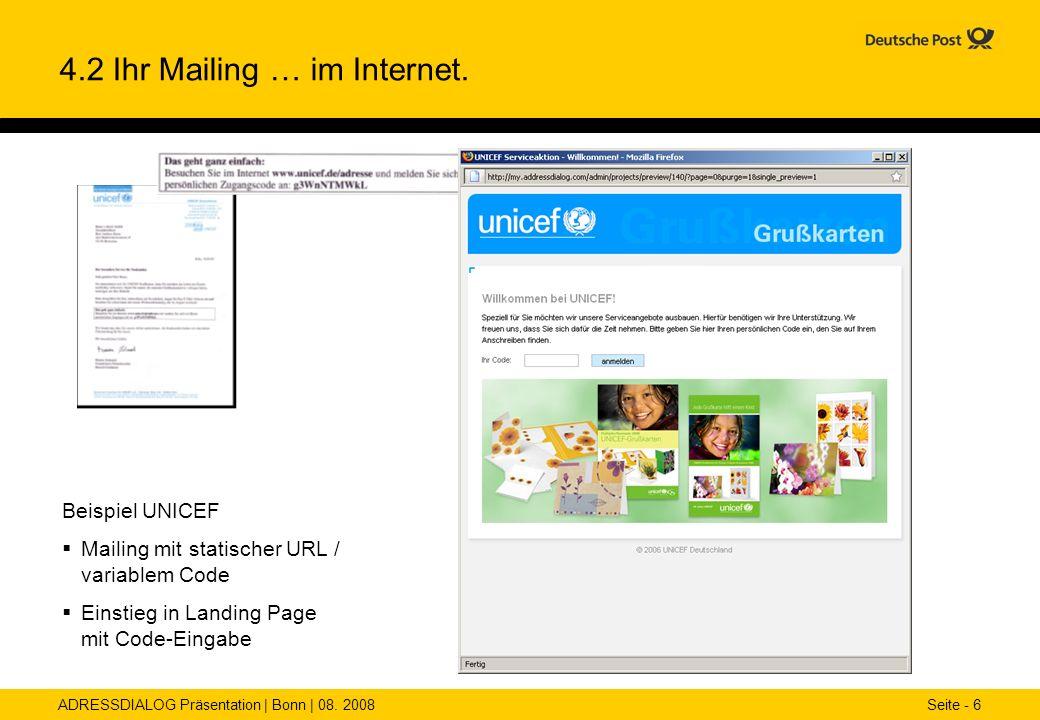 4.2 Ihr Mailing … im Internet.