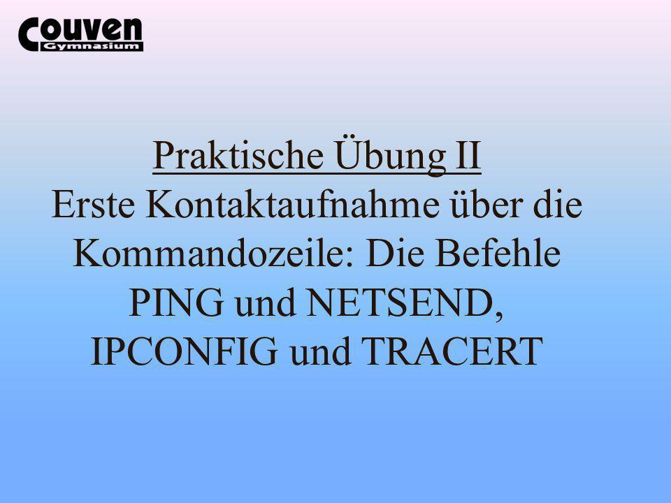 Praktische Übung II Erste Kontaktaufnahme über die Kommandozeile: Die Befehle PING und NETSEND, IPCONFIG und TRACERT