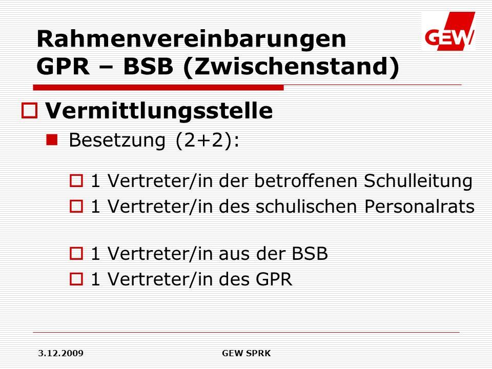 Rahmenvereinbarungen GPR – BSB (Zwischenstand)