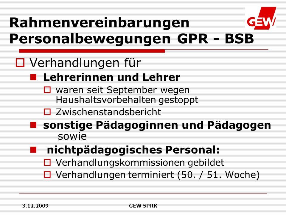 Rahmenvereinbarungen Personalbewegungen GPR - BSB