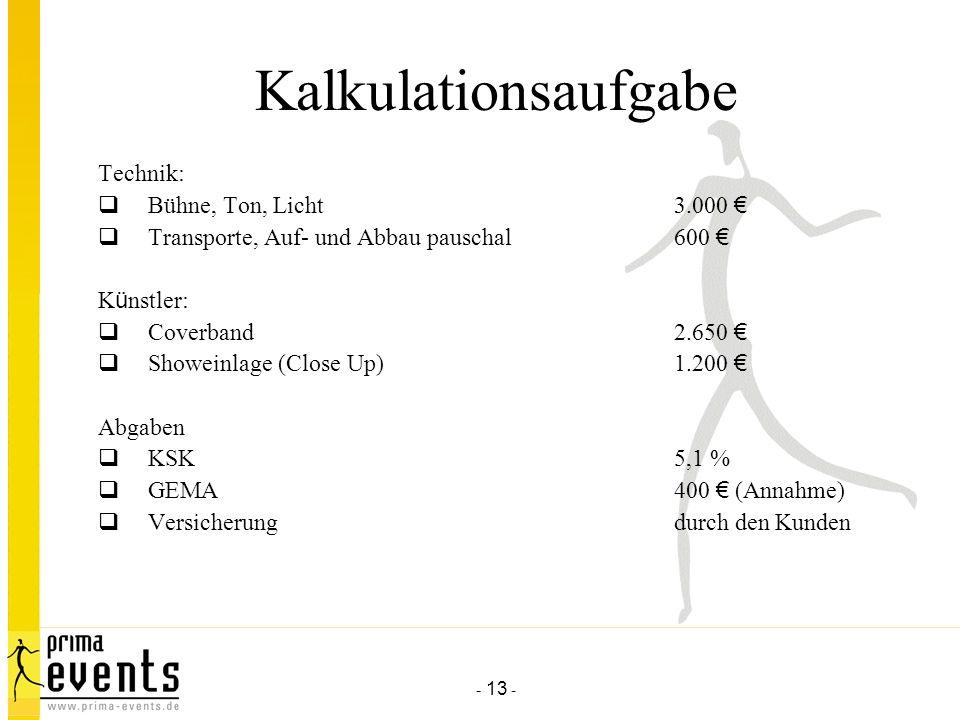 Kalkulationsaufgabe Technik: Bühne, Ton, Licht 3.000 €