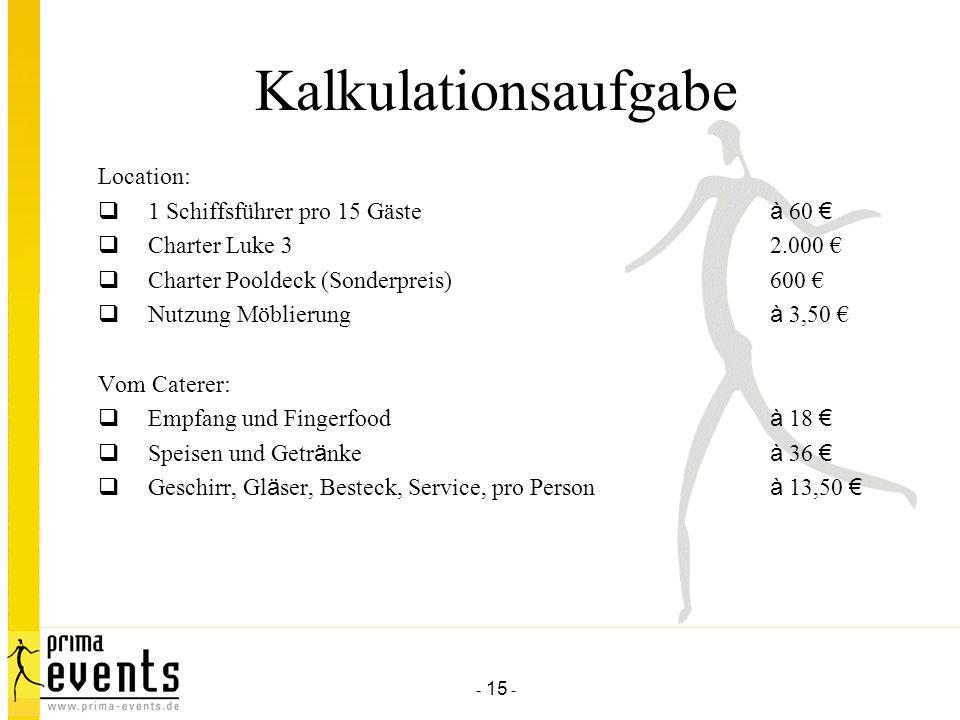 Kalkulationsaufgabe Location: 1 Schiffsführer pro 15 Gäste à 60 €