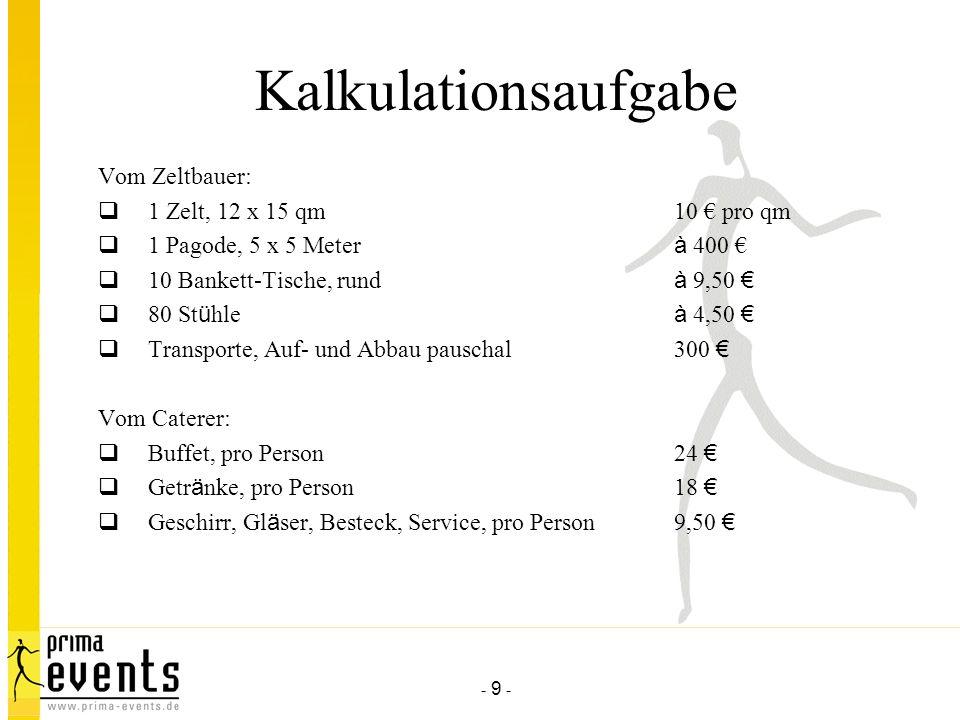 Kalkulationsaufgabe Vom Zeltbauer: 1 Zelt, 12 x 15 qm 10 € pro qm